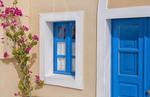 Close up of doorway and flowers in Santorini Greece in Greek Islands