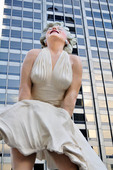 The 26-foot-tall statue of Marilyn Monroe in Pioneer Court along Michigan Avenue in downtown Chicago. The sculpture,