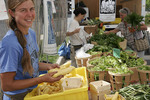 Virginia, Purcellville, Farmer's Market, locally grown produce, vegetable, woman, squash,