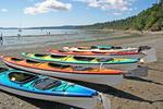 Kayaks on shore at Spencer Spit State Park Lopez Island San Juan Islands Washington