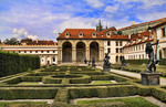 Beautiful gardens in the Wallenstein Gardens in Old Town district of tourist city of Prague in Czech Republic