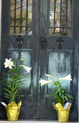 Lilies at the door of a cemetery crypt or mausoleum