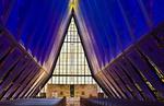 Colorado Springs Colorado Air force Academy Chapel for Cadets interior blue peaks