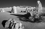 The Pinnacles a famous rock formation in Nambung National Park in Western Australia Australia infrared B&W