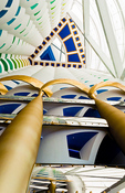 Interior of pillars abstract in the worlds only 7 star hotel the Burj Al Arab in Dubai in UAE
