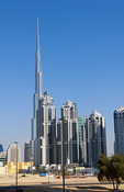 Construction and new skyline of amazing Dubai UAE with the world's tallest building Burj Khalifa at 2722 feet and 162 stories in thriving new United Arab Emirates