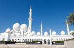 The beautiful white Sheikh Zayed Grand Mosque in Abu Dhabi in the UAE the worlds 8th largest Muslim mosque in the world
