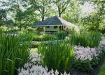Summer garden with garden house