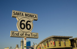 Santa Monica California CA end of Route 66 at beach famous boardwalk and pier with tourists and food and rides