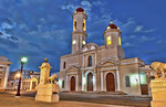 Cienfuegos Cuba Immaculate Conception Cathedral church at  night exposure