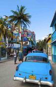 Very colorful wild artist area street called Hamel Street in Havana Cuba