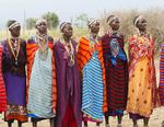 Amboseli National Park Kenya Africa safari Masai women welcome to village Amboseli Maasai
