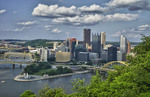 Pittsburgh Pennsylvania from Mt Washington hill looking at Golden Triangle and the city skyscrapers where the three rivers meet