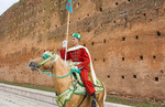 Rabat Morocco guard on horse at Mausoleum of Mohammed V against stone wall