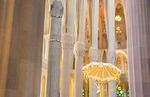 Barcelona Spain Le Sagrada Familia Church stain glass interior of Gaudi designer Basilica church pillars started in 1882 light