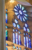 Barcelona Spain Le Sagrada Familia Church stain glass interior of Gaudi designer Basilica church pillars started in 1882