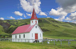 Iceland Reyniskirkja church near Black Beach in Vik village built in 1929