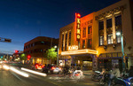 Albuguergue New Mexico Route 66 of Central Avenue of famous historic KIMO Theatre at night