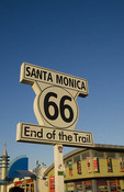 Santa Monica California end of Route 66 at beach famous boardwalk and pier with tourists and food and rides