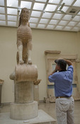 Greece Delphi famous Museum of Delphi with old Egyptian Sphinx statue in 570 BC