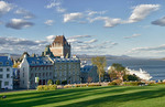 Quebec City Quebec Canada beautiful scene with the famous Chateau Frontenac Hotel landmark in French Canada with cruise ship