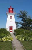 Canada Prince Edward Island, P.E.I. Victoria beautiful old Lighthouse called Victoria Seaport Lighthouse or Souris East Lighthouse