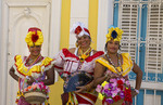 Old Havana Cuba Habana women in costume with flowers for tourists colorful Cuba Today