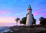 The Marblehead Lighthouse Radiates It's Green Light As The Sun Warms The Eastern Sky Initiating A Brand New Day At Marblehead Ohio On Lake Erie, in Ohio