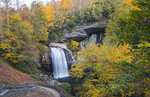 Brevard North Carolina Looking Glass Waterfall near Asheville with Fall Colors in Pisgah National Forest on Blue Ridge Parkway