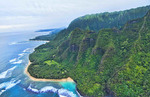 Kauai Hawaii aerial from helicopter of the breath-taking Na Poai Coast shore from above