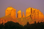 Cathedral Rock at Sunset With Storm Sky at Red Rock Crossing, Coconino National Forest, Sedona, Arizona, AGPix_0002