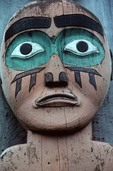 Face on Tlingit totem pole, Chief Shakes House, Wrangell, Alaska, AGPix_0006