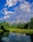 Teton Range With Clouds, Reflected in Pond, Grand Teton National Park, Wyoming, AGPix_0017