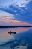 Canoeing at sunset on Kabetogama Lake in Voyageurs National Park, Minnesota, AGPix_0023