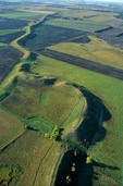 An esker snakes across the prairie, a sinuous gravel ridge formed by sub-glacial ice aged stream, near Dahlen, North Dakota, AGPix_0025