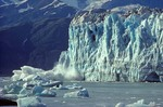 Iceberg calving from tidewater face of Hubbard Glacier, Wrangell-St. Elias National Park, Alaska, AGPix_0026