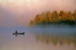 Canoeing on misty morning, Quetico Provincial Park, Ontario, Canada, AGPix_0027