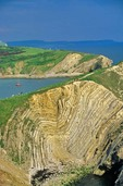 Lulworth Crumple, Folding of Sedimentary Rocks, Stair Hole, Lulworth Cove, Dorset, England, AGPix_0035