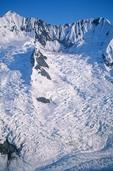 Glaciers flowing down mountainsides in the Fairweather Mountains , Glacier Bay National Park, Alaska, AGPix_0036