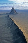 Aerial view of Shiprock, an ancient volcanic neck with radiating dikes, near Shiprock, New Mexico, AGPix_0038