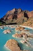 Mineral-laden waters of the Little Colorado River, at Confluence with the Colorado River in Grand Canyon National Park, Arizona, AGPix_0040