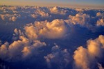Aerial view of Summer Sunrise on cumulous clouds over the Great Plains of North Dakota, AGPix_0044