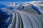 Aerial View of Kenicott Glacier With Medial Moraines flowing from Wrangell Mountains in Wrangell-St. Elias National Park, Alaska, AGPix_0045
