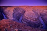 Goosenecks of the San Juan River with entrenched stream meanders at dawn with full moon, BLM public lands near Mexican Hat, Utah, AGPix_0052