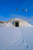 Indian Earth Lodge at On-A-Slant Indian Village, winter at Fort Abraham Lincoln State Park, Mandan, North Dakota, AGPix_0069