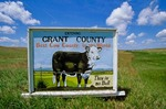 """Entering Grant County"" Sign on Highway 2 in the Sand Hills Country, Grant County, Nebraska, AGPix_0073"