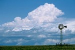 Windmill and Prairie Storm Sky on the Great Plains, East of Harrison, Nebraska, AGPix_0081
