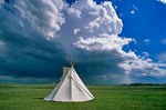 Tipi on the prairie with thunderstorm at Agate Fossil Beds National Monument, Sioux County, Nebraska, AGPix_0083    