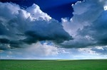 Cumulus clouds floating over the High Plains, shortgrass prairie, near Cheyenne Wells, Colorado, AGPix_0085
