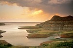 Sailboats in small cove at sunset on Lake Sakakawea, North Dakota, AGPix_0091